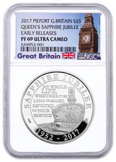 2017 Great Britain Queen Elizabeth II Sapphire Jubilee Piedfort Silver Proof £5 Coin NGC PF69 UC ER (Exclusive Great Britain Label)