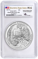 2017-P Ozark Riverways 5 oz. Silver America the Beautiful Specimen Coin PCGS SP70 Beautiful Parks Series Mercanti Signed Label