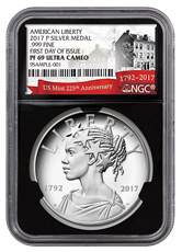 2017-P United States American Liberty 225th Anniversary 1 oz Silver Proof Medal NGC PF69 UC FDI Black Core Holder Exclusive U.S. Mint 225th Anniversary Label