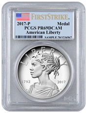 2017-P United States American Liberty 225th Anniversary 1 oz Silver Proof Medal PCGS PR69 DCAM FS Flag Label