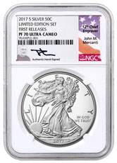 2017-S Proof American Silver Eagle From Limited Edition Silver Proof Set NGC PF70 UC FR Mercanti Signed Label