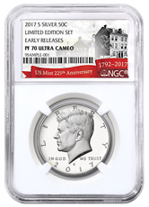 2017-S Silver Proof Kennedy Half Dollar From Limited Edition Silver Proof Set NGC PF70 UC ER Exclusive U.S. Mint 225th Anniversary Label