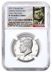 2017-S Silver Proof Kennedy Half Dollar From Limited Edition Silver Proof Set NGC PF70 UC ER Ask Not Label