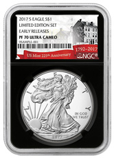 2017-S Proof American Silver Eagle From Limited Edition Silver Proof Set NGC PF70 UC ER Black Core Holder Exclusive U.S. Mint 225th Anniversary Label