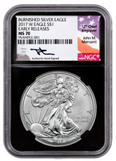 2017-W Burnished American Silver Eagle NGC MS70 ER Black Core Holder Mercanti Signed Label