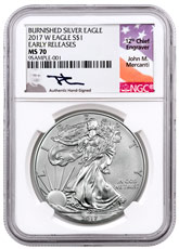 2017-W Burnished American Silver Eagle NGC MS70 ER Mercanti Signed Label
