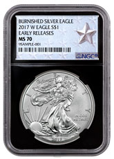 2017-W Burnished American Silver Eagle NGC MS70 ER Black Core Holder West Point Silver Star Label