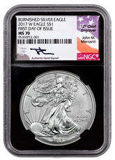 2017-W Burnished American Silver Eagle NGC MS70 FDI Black Core Holder Mercanti Signed Flag Label