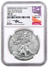 2017-W Burnished American Silver Eagle NGC MS70 FDI Mercanti Signed Flag Label