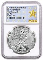 2017-W Burnished American Silver Eagle NGC MS70 FR West Point Gold Star Label