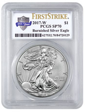 2017-W Burnished American Silver Eagle PCGS SP70 FS Exclusive U.S. Mint 225th Anniversary Label