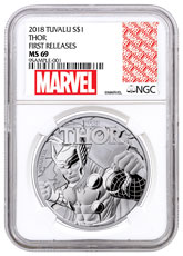 2018 Tuvalu Thor 1 oz Silver Marvel Series $1 Coin NGC MS69 FR Exclusive Marvel Label