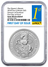 2018 Great Britain 2 oz Silver Queen's Beasts - Unicorn of Scotland £5 Coin NGC GEM BU FDI First Day of Issue Label