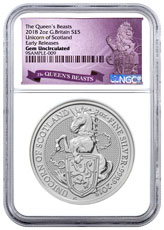 2018 Great Britain 2 oz Silver Queen's Beasts - Unicorn of Scotland £5 Coin NGC GEM BU ER Exclusive Queens Beasts Label