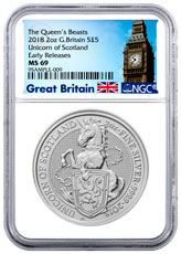 2018 Great Britain 2 oz Silver Queen's Beasts - Unicorn of Scotland £5 Coin NGC MS69 ER Exclusive Big Ben Label