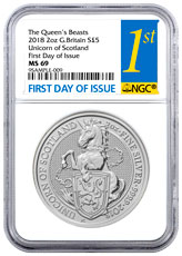 2018 Great Britain 2 oz Silver Queen's Beasts - Unicorn of Scotland £5 Coin NGC MS69 FDI First Day of Issue Label