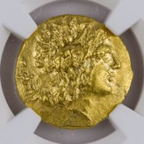Pontic Kingdom, Gold Stater of Mithradates VI (120-63 BC) - Types of Lysimachus - obv. Alexander the Great/rv. Athena Seated NGC MS (Strike: 4/5, Surface: 5/5)