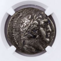 Phoenicia, Tyre Silver Shekel (126/5 BC-c.AD 67/8) - Money of the Bible Yr.100 (27/6 BC) - obv. Melkart/rv. Eagle on Prow NGC Ch. VF (Strike: 4/5, Surface: 2/5)