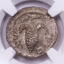 Judaea, Silver Zuz of Bar Kokhba Revolt (AD 132-135) - obv. Grapes/rv. Cithara NGC MS (Strike: 4/5, Surface: 5/5)