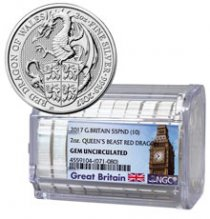 Certified Roll of 10 - 2017 Great Britain 2 oz Silver Queen's Beasts - Red Dragon of Wales £5 Coins NGC GEM Uncirculated Exclusive Big Ben Label