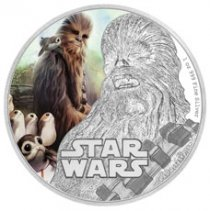 2017 Niue Star Wars: The Last Jedi - Chewbacca 1 oz Silver Colorized Proof $2 Coin GEM Proof OGP