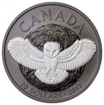 2017 Canada Nocturnal By Nature - Barn Owl 1 oz Silver Black Rhodium-Plated Matte Proof $20 Coin GEM Proof (OGP)