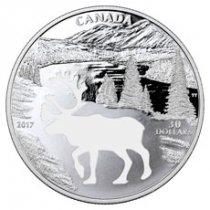 2017 Canada Endangered Animal Cutout - Woodland Caribou 1.7 oz Silver Proof $30 Coin GEM Proof (OGP)