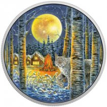 2017 Canada Animals in the Moonlight - Lynx 2 oz Silver Colorized Glow in the Dark Proof $30 Coin GEM Proof (OGP)