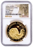 2018 Somalia 1 oz Gold Elephant Sh1,000 Coin NGC MS70 ER Exclusive African Elephant Label