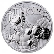 2018 Tuvalu Thor 1 oz Silver Marvel Series $1 Coin GEM BU Original Mint Capsule