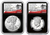 2-Coin Set - 2017-S Proof American Silver Eagle + Proof Kennedy Half Dollar From Limited Edition Silver Proof Set NGC PF70 UC ER Black Core Holder Exclusive U.S. Mint 225th Anniversary Label