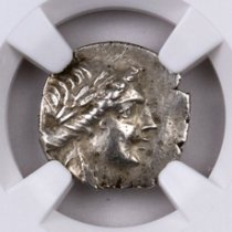Lycia, Olympus Silver Drachm of the Lycian League (2nd-1st Centuries BC) - obv. Apollo/rv. Cithara NGC Ch. XF