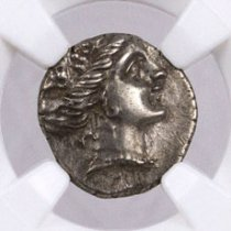 Greek Island of Euboea, Histiaea Silver Tetrobol (c.3rd-2nd Centuries BC) - obv. Nymph/rv. Nymph on Stern of Ship NGC Ch. XF (Story Vault)