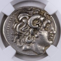 Greek Kingdom of Thrace, Silver Tetradrachm of Lysimachus (305-281 BC) - Early Posthumous Issue - obv. Alexander the Great/rv. Athena NGC Ch. VF