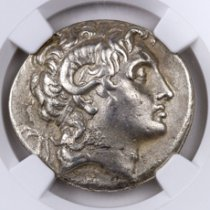 Greek Kingdom of Thrace, Silver Tetradrachm of Lysimachus (305-281 BC) - Early Posthumous Issue - obv. Alexander the Great/rv. Athena NGC Ch. XF