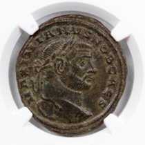 Roman Empire, Billon Nummus of Galerius (AD 305-311) NGC Ch. VF