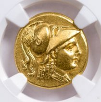 Kingdom of Macedon, Gold Stater of Alexander the Great (336-323 BC ) - obv. Athena/rv. Nike NGC Ch. AU (Strike: 5/5, Surface: 4/5)
