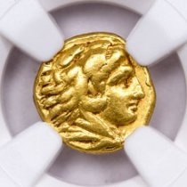 Kingdom of Macedon, Gold Quarter-Stater of Philip II (359-336 BC) - obv. Heracles/rv. Club, Bow+Vessel NGC VF (Strike: 5/5, Surface: 4/5)