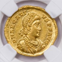 Eastern Roman Empire, Gold Solidus of Arcadius (AD 383-408) - obv. Bust/rv. Emp. w/Foot on Captive NGC Ch. MS (Strike: 5/5, Surface: 5/5)