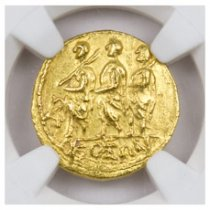 Thracian or Scythian, Gold Stater of Koson (after 54 BC) - obv. Procession, Monogram/rv. Eagle Holding Wreath and Scepter NGC AU (Strike: 4/5, Surface: 4/5)