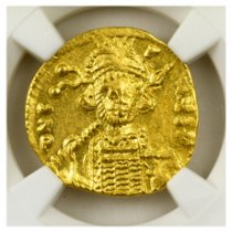 Byzantine Empire, Gold Solidus of Constantine IV (AD 668-685) - rv. Cross Potent on Steps NGC AU (Strike: 3/5, Surface: 4/5 - Clipped)