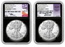2-Coin Set - 2017-S Proof American Silver Eagle From Limited Edition Silver Proof Set NGC PF70 UC FR Black Core Holder Mercanti + Jones Signed Labels