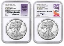 2-Coin Set - 2017-S Proof American Silver Eagle From Limited Edition Silver Proof Set NGC PF70 UC FR Mercanti + Jones Signed Labels