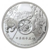 2016 China Anaheim ANA World's Fair of Money Silver Panda 1 oz Silver Proof Medal GEM Proof OGP