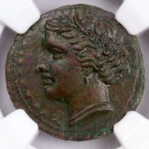 Sicily, Syracuse Bronze of Hieron II (c.275-215 BC) - obv. Kore-Persephone/rv. Butting Bull with Club NGC AU* (Strike: 5/5, Surface: 4/5)