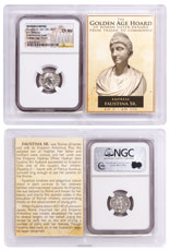 Roman Empire, Silver Denarius of Faustina Sr. (AD 138-140/1) - Golden Age Hoard NGC Ch. AU Story Vault