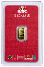 Republic Metals Corporation Logo 1 g Gold Bar In Assay (Red)