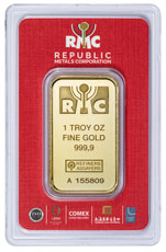 Box of 25 - Republic Metals Corporation Logo 1 oz Gold Bars (In Assay)