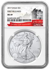 2017 American Silver Eagle NGC MS69 FR (U.S. Mint 225th Anniversary Label)
