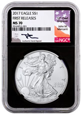 2017 American Silver Eagle NGC MS70 FR (Black Core Holder Mercanti Signed Label)